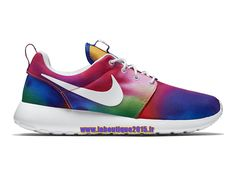 Nike Wmns Roshe One Print - Chaussures Nike Running Pas Cher Pour Femme/Enfant Violet basket-ball/Blanc/Cramoisi Total 655206-518G