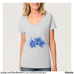 pretty cool blue flowers top shirt