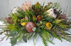 Fall Protea and Banksia arrangement #CaGrown