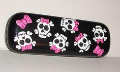 Skull Girls /w Pink Bows Eyeglass Case  Hand by StrokesofMadness, $7.99