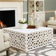 Global Views Marble Fret Cocktail Table