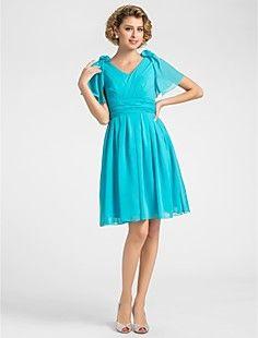 A-line V-neck Knee-length Chiffon Mother of the Bride Dress – USD $ 79.19