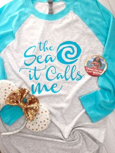 The Sea It Calls Me - Polynesian Island Shirt - Raglan Shirt - Baseball Tee - Moana Loves the Sea Shirt - Womens Clothing