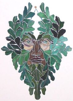 Ancient Celtic Green Man Stained Glass Panel -Want to make this with window colour...