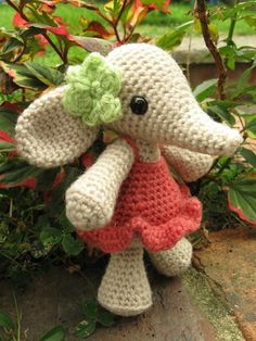 i would love to make my kids stuffed animals. flora the elephant amigurumi stuffed animals. - $4.00