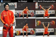 """""""Check out Lu Xiaojun (-77kg, China) snatching 170kg and C 205kg. Look at how similar his positions are! Lu is the 2012 Olympic Champion, 2009/2011 World Champion and the Snatch and Total world record holder."""" hookgrip"""
