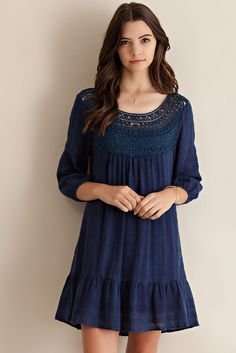 Crochet Patch Baby Doll Ruffle Dress - Navy