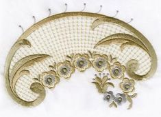 VINTAGE CHIC | OregonPatchWorks Custom Embroidery, Embroidery Thread, Machine Embroidery Designs, Gold Work, Bargello, Cutwork, Shabby Chic Decor, Free Design, Design Elements