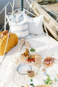 A Summer Picnic out Sailing - Monika Hibbs Peach Syrup, Boat Fashion, Fresh Market, Fruit In Season, Charcuterie Board, Slow Living, Chocolate Recipes, Chocolate Chips, Food Items