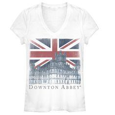 Downton Abbey Junior's - Union Jack Castle V Neck #downton #downtonabbey #pbs