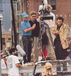 "On the set of ""Wild at Heart"" by David Lynch, 1990. Sailor (Nicolas Cage) singing ""Love me tender"""