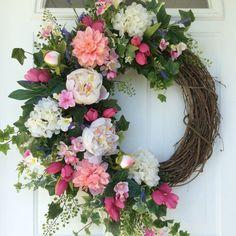 SALE-Summer Wreath-Spring Wreath-Hydrangea by ReginasGarden
