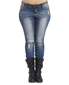 Wanna Betta Butt™ Destroyed Skinny | Wet Seal+ #jeans #denim #plussize #curvy