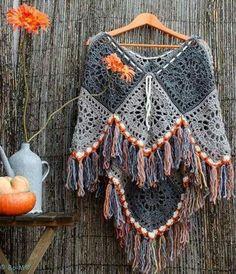Hermoso poncho de B-M. Inspiración •✿• Teresa Restegui http://www.pinterest.com/teretegui/ •✿•: