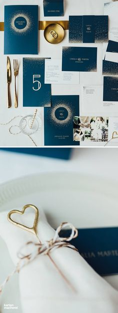 Der Name der Hochzeitspapeterie 'Glanzvoll' ist Programm: Hier fliegen die Funken für euren großen Tag. Die goldenen Highlights ziehen sich durch die gesamte Papeterie Serie: von der Save the Date Karte bis zum Hochzeitsmenü.
