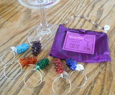 6 Set Twos Company Grape Wine ID Charms with Carry Pouch
