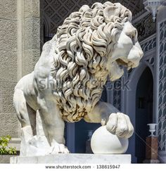Library Lion Statue | Marble lion sculpture in Vorontsov Palace in Alupka, Crimea, Russia ...