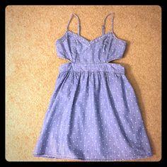 Abercrombie & Fitch polka dot Jean dress Super cute polka dot Jean dress with cutouts. Perfect for summer! Abercrombie & Fitch Dresses Mini