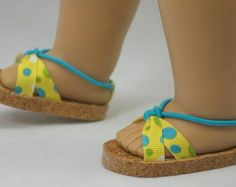 American Girl, 18 inch doll SANDALS SHOES Flipflops in Turquoise, Green, White POLKA Dots on Yellow with Ankle Strap