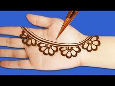 Beautiful henna design - New Easy Front Hand Simple Arabic Mehndi Design || Simple Mehendi Designs - YouTube Mehandi Designs For Kids, Baby Mehndi Design, New Henna Designs, Mehndi Designs Front Hand, Simple Arabic Mehndi Designs, Finger Henna Designs, Mehndi Designs Book, Mehndi Design Pictures, Mehndi Designs For Beginners
