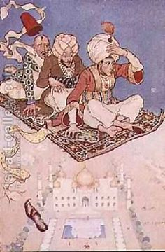 """Ali-Baba And The Flying Magic Carpet "" Art By Anne Anderson - A Tale From The Arabian Nights - Arabia"