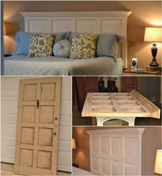 Recycled Old Door Headboard - 78 Superb DIY Headboard Ideas for Your Beautiful Room