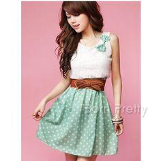 $13.99 Sexy Lace Ruffle Dress Girdling Chiffon Skirt Bowknot Decor Skirt - BornPrettyStore.com