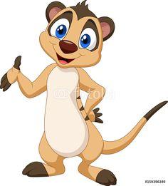 Plakaty - Cartoon meerkat posing #159396349
