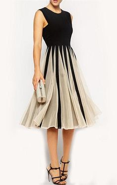 Color-block Black Sleeveless With Mesh Round Neck Pleated Dress 9ff823d1db9
