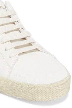 Saint Laurent - Court Classic Embroidered Distressed Canvas Sneakers - Off-white