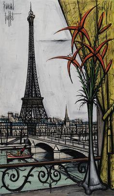 La tour Eiffel et les liliums, 1988 par Bernard BUFFET (1928-1999) #bernardbuffet