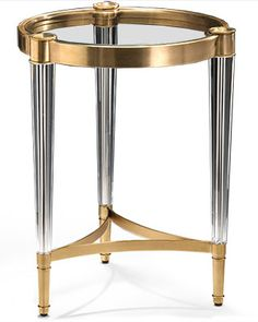 round table with solid crystal legs and antiqued brass trim Small Accent Tables, Iron Table, Contemporary Interior, Wrought Iron, End Tables, Antique Brass, Traditional, Crystals, Antiques