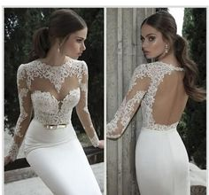 Cheap Mermaid Wedding Dresses Only 59$ 2015 New Berta Bridal Mermaid Wedding Dresses Jewel Neck Poet Long Sleeve Illusion Sheer Appliques Lace Backless Back Formal Gowns Sexy Dresses For Wedding From Dressesgirl, $56.96| Dhgate.Com