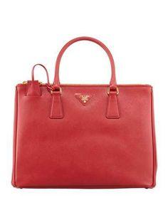 Prada Saffiano Double-Zip Executive Tote Bag, Red (Fuoco)  https://api.shopstyle.com/action/apiVisitRetailer?id=430586090&pid=uid2500-37484350-28