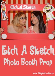 Etch a Sketch Toy Story Photo Booth Prop with free Toy Story printables - Design Dazzle #toystoryparty #etchasketch #photoboothprop