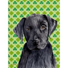 Labrador Black St. Patrick's Day Shamrock House Vertical Flag