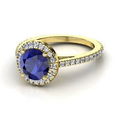 Round Sapphire 14K Yellow Gold Ring with Diamond   alternative engagement ring