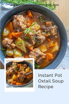 Oxtail Soup, also known as hearty cold weather soup. Tender falling off the bones beef, herbs and spices, potatoes, celery, onions and carrots cooked in the most flavourful broth. The incredibly tasty Oxtail Soup broth has a kick of balsamic vinegar and Worcestershire sauce. This cold weather soup is the perfect bowl of rich broth filled with veggies and tender beef. #instantpot #oxtailsoup #soups #onlyglutenfreerecipes #beefsoups