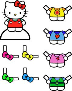 Hello Kitty Paper Doll with Dresses - Dress Up Game. Goodie bags to include frosted animal crackers, little boxes of raisins, homemade fruit leather, juice box, and a printable Hello Kitty paper doll