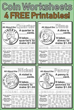 All About Coins! 4 FREE Printable Money Worksheets Learn all about coins with your kindergarten and first grade students using these four free coin worksheets! The four most common coin values are included: quarter, dime, nickel, and penny. First Grade Curriculum, 1st Grade Worksheets, Kindergarten Worksheets, Counting Money Worksheets, Teaching First Grade, Therapy Worksheets, 2nd Grade Teacher, Learning Money, Money Activities