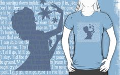 Elsa Let it go lyrics T-shirt by My heart has ears. Available in Women's, Men's and Children's sizes as well! In a variety of colors and styles!