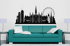 cik1376 Full Color Wall decal Vienna Austria city panorama living room bedroom