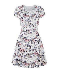 Cameo Rose Cream Floral Print Skater Dress  | New Look