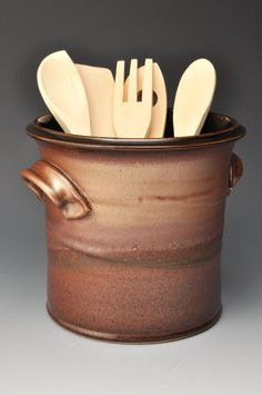 This wheel-thrown kitchen utensil holder has a nice wide opening to allow all your utensils to fit without getting tangled. The handles add both Ceramic Utensil Holder, Kitchen Utensil Holder, Ceramic Plates, Ceramic Pottery, Ceramic Art, Kitchen Items, Kitchen Utensils, Wheel Thrown Pottery, Pottery Studio