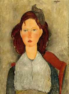 Young Girl Seated, 1918 by Amedeo Modigliani. Expressionism. portrait