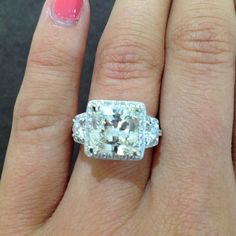 People will stare, make if worth their while - Harry Winston.   This stunning Radiant Cut diamond ring is available at Sissy's Log Cabin.   ***See video of all angles of this ring on Facebook and Instagram*** Facebook.com/amberatsissys Instagram.com/amberatsissys