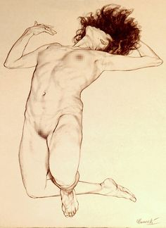 Riccardo Mannelli (b. 1955, Italy) is a cartoonist, designer, and an instructor at the European Institute of Design. This nude female drawing is a tame version of his erotica themed illustrations. #NSFW