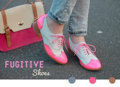 Fugitive Shoes. Bright pink saddle shoes