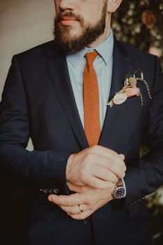 Classic Groom Look with a Burnt Orange Tie wedding indoor Evergreen Inspiration from Portland · The Big Fake Wedding Fall Wedding Attire, Fall Wedding Groomsmen, Fall Wedding Colors, Wedding Men, Gothic Wedding, Wedding Flowers, Wedding Ideas, Wedding Favors, Wedding Invitations