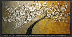 ORIGINAL Abstract Contemporary Weeping White Cherry Blossom Tree Painting Thick Texture Ready to Hang Gallery Canvas 48x24 by Susanna